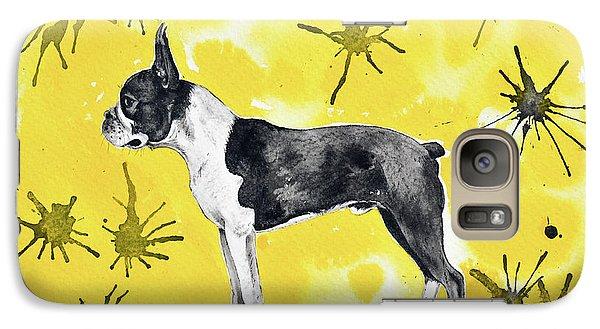 Galaxy Case featuring the painting Boston Terrier On Yellow by Zaira Dzhaubaeva