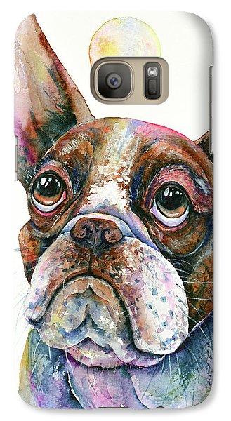 Galaxy Case featuring the painting Boston Terrier Watching A Soap Bubble by Zaira Dzhaubaeva