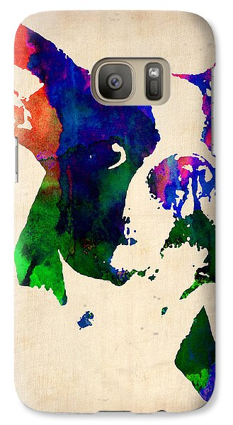 Boston Terrier Watercolor Galaxy S7 Case by Naxart Studio