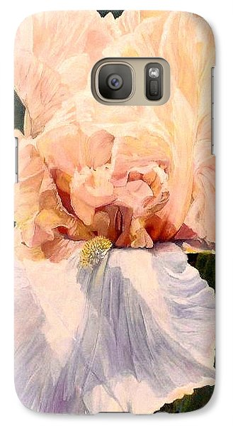 Galaxy Case featuring the painting  Botanical Peach Iris by Laurie Rohner