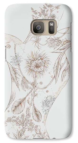 Galaxy Case featuring the drawing Botanicalia Claire by Karen Robey