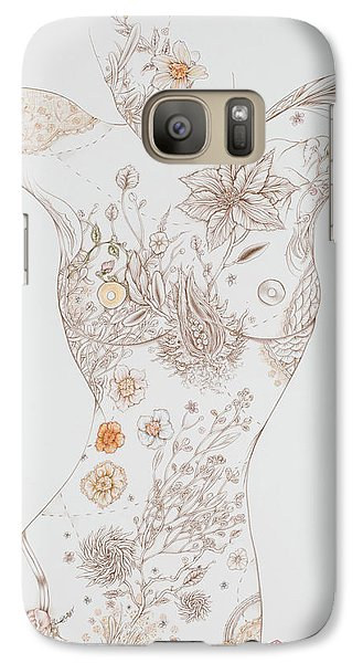 Galaxy Case featuring the drawing Botanicalia Erica-sold by Karen Robey