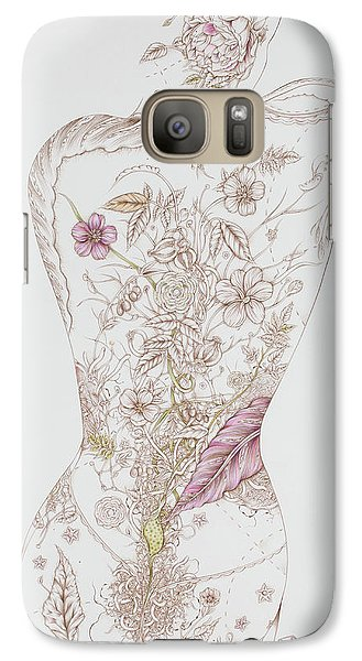 Galaxy Case featuring the drawing Botanicalia Tristan by Karen Robey
