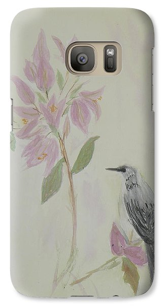 Galaxy Case featuring the painting Bougainvillea And Mockingbird by Donna Walsh