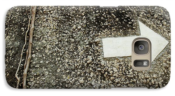 Galaxy Case featuring the photograph Boulder Face With Arrow And Vines by Jason Rosette