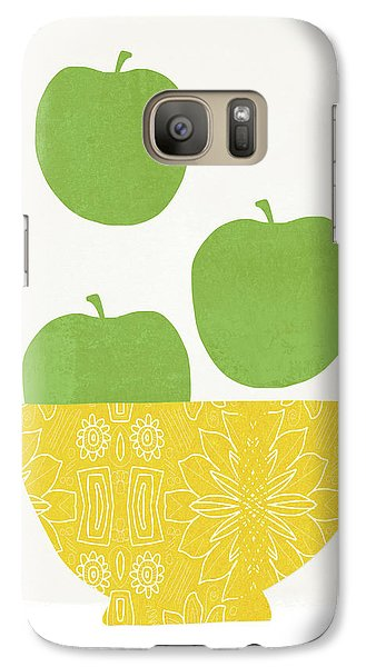 Apple Galaxy S7 Case - Bowl Of Green Apples- Art By Linda Woods by Linda Woods