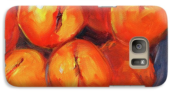 Galaxy S7 Case featuring the painting Bowl Of Peaches Still Life by Nancy Merkle