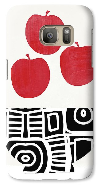 Apple Galaxy S7 Case - Bowl Of Red Apples- Art By Linda Woods by Linda Woods