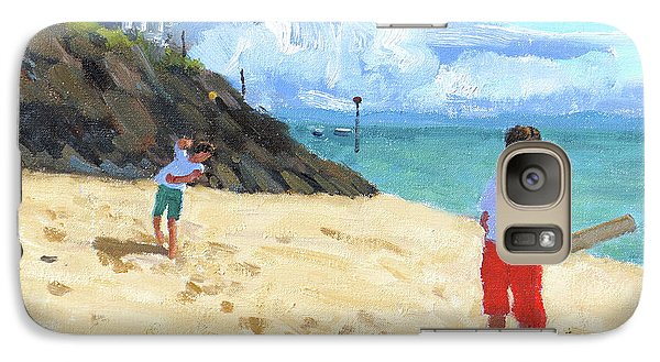Cricket Galaxy S7 Case - Bowling And Batting, Abersoch by Andrew Macara