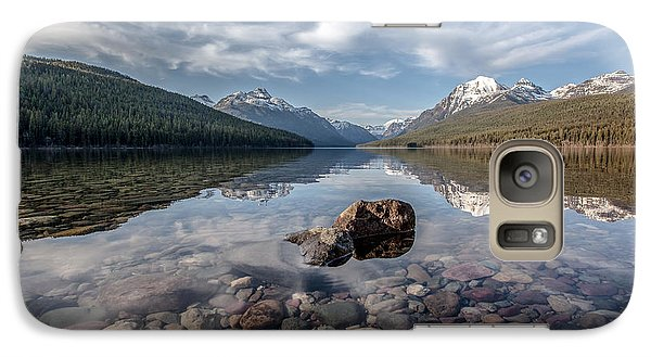 Galaxy Case featuring the photograph Bowman Lake Rocks by Aaron Aldrich