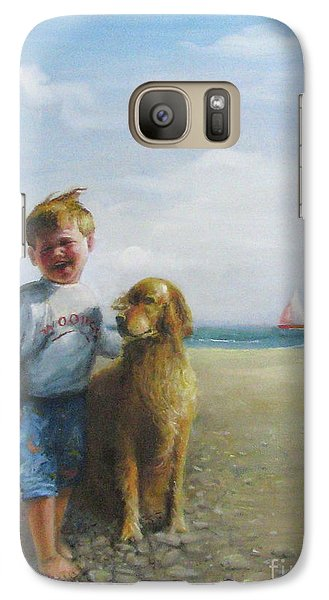 Galaxy Case featuring the painting Boy And His Dog At The Beach by Oz Freedgood