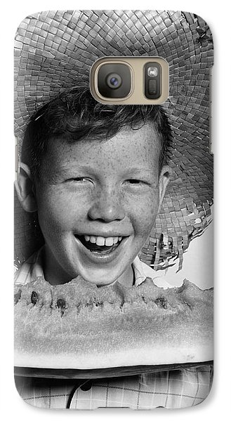Boy Eating Watermelon, C.1940-50s Galaxy S7 Case by H. Armstrong Roberts/ClassicStock