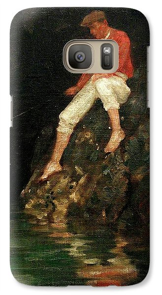 Galaxy Case featuring the painting Boy Fishing On Rocks  by Henry Scott Tuke