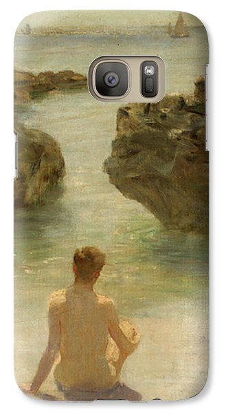 Galaxy Case featuring the painting Boy On A Beach, 1901 by Henry Scott Tuke