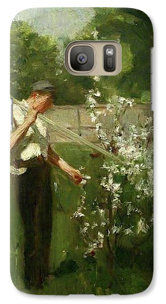 Galaxy Case featuring the painting Boy With A Grass Rake by Henry Scott Tuke