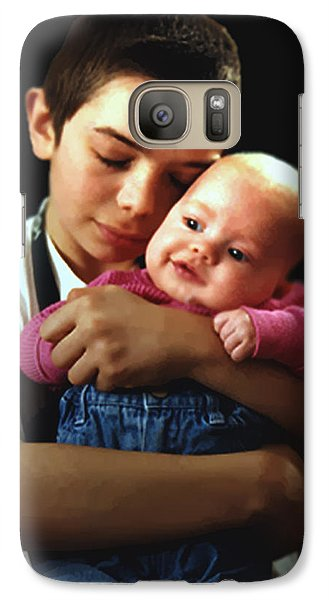Galaxy Case featuring the photograph Boy With Bald-headed Baby by RC deWinter