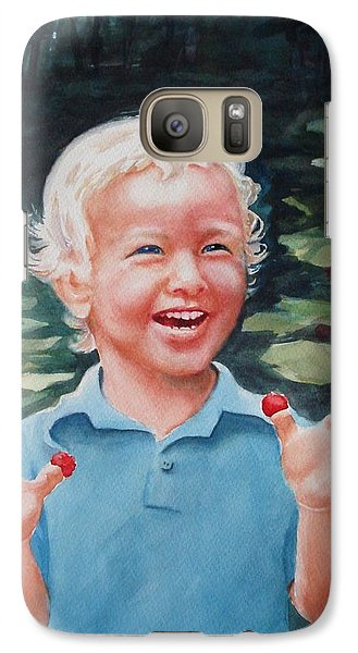 Galaxy Case featuring the painting Boy With Raspberries by Marilyn Jacobson