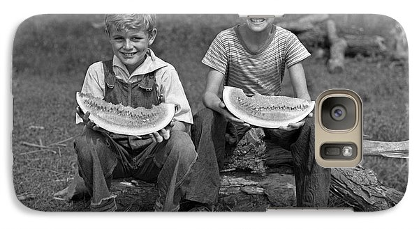 Boys Eating Watermelons, C.1940s Galaxy S7 Case by H. Armstrong Roberts/ClassicStock