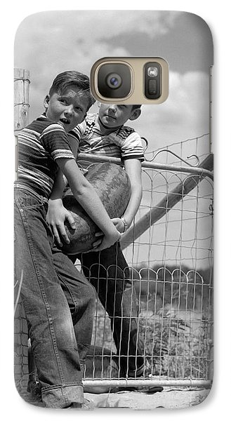 Boys Stealing A Watermelon, C.1950s Galaxy S7 Case by H. Armstrong Roberts/ClassicStock