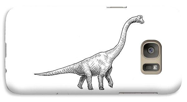 Brachiosaurus Black And White Dinosaur Drawing  Galaxy S7 Case