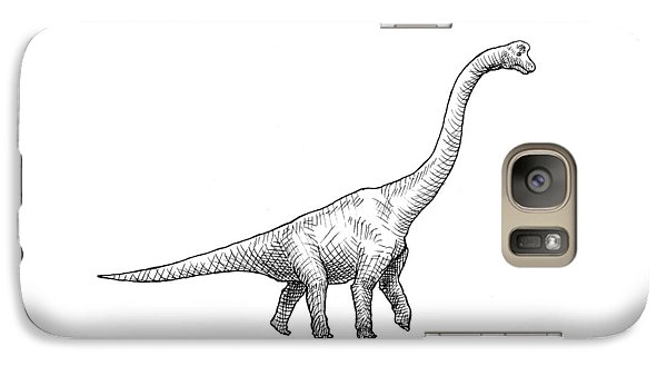 Brachiosaurus Black And White Dinosaur Drawing  Galaxy Case by Karen Whitworth