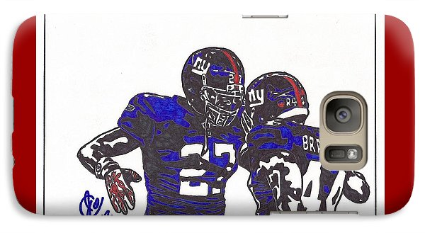 Galaxy Case featuring the drawing Brandon Jacobs And Ahmad Bradshaw by Jeremiah Colley