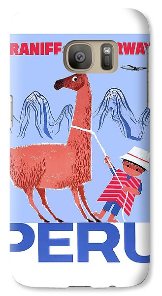Llama Galaxy S7 Case - Braniff Airways Peru Child And Llama Travel Poster by Retro Graphics