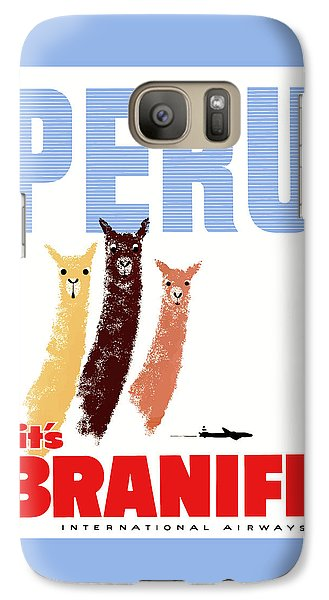 Llama Galaxy S7 Case - Braniff Airways Peru Llamas Travel Poster by Retro Graphics