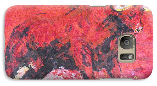 Galaxy Case featuring the painting Brave Red Bull by Koro Arandia