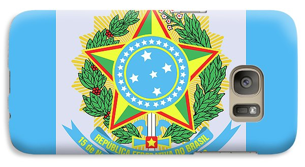 Galaxy Case featuring the drawing Brazil Coat Of Arms by Movie Poster Prints
