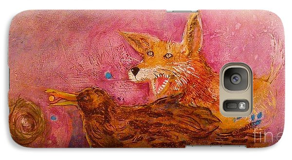 Galaxy Case featuring the painting Bre Fox And Bre Crow by Gertrude Palmer