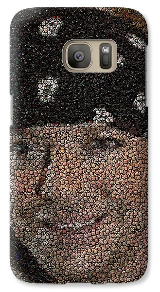 Galaxy Case featuring the mixed media Bret Michaels Poison Bottle Cap Mosaic by Paul Van Scott