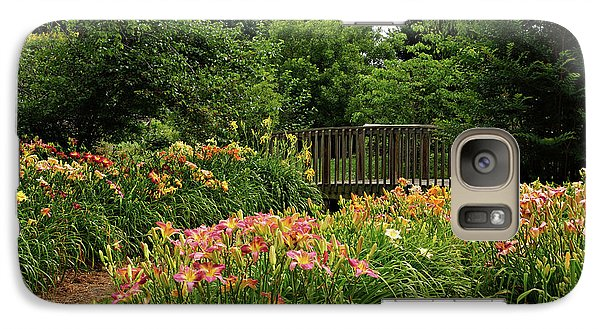 Galaxy Case featuring the photograph Bridge In Daylily Garden by Sandy Keeton