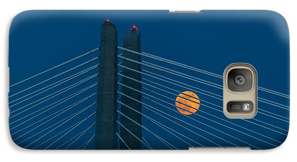 Galaxy Case featuring the photograph Bridge Moon by Jerry Cahill