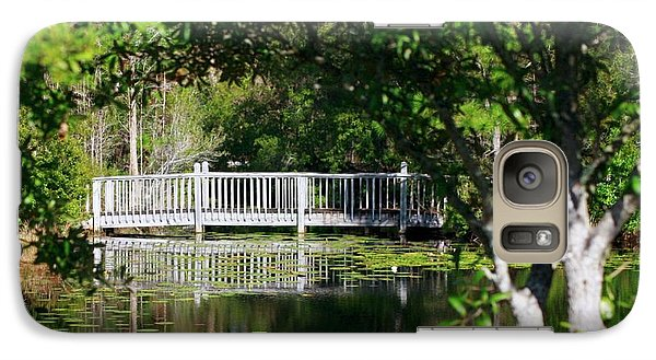 Galaxy Case featuring the photograph Bridge On Lilly Pond by Lori Mellen-Pagliaro