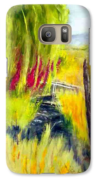 Galaxy Case featuring the painting Bridge Over Small Stream by Sherril Porter