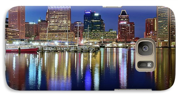 Galaxy Case featuring the photograph Bright Blue Baltimore Night by Frozen in Time Fine Art Photography