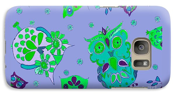 Galaxy Case featuring the mixed media Bright Eyed Owls by Beth Saffer