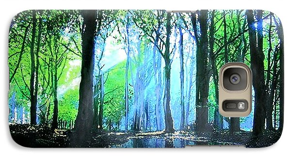 Galaxy Case featuring the painting Bright Light In Dark Wood by Marie-Line Vasseur