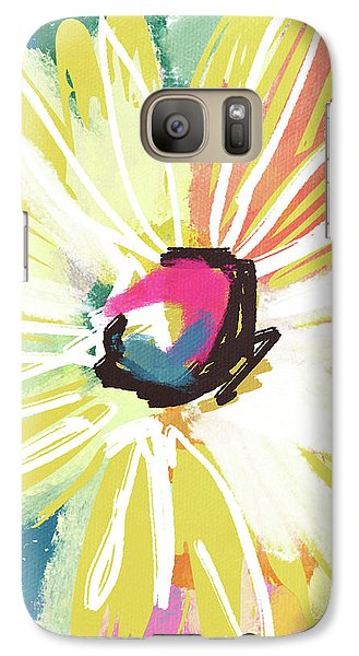 Daisy Galaxy S7 Case - Bright Yellow Flower- Art By Linda Woods by Linda Woods