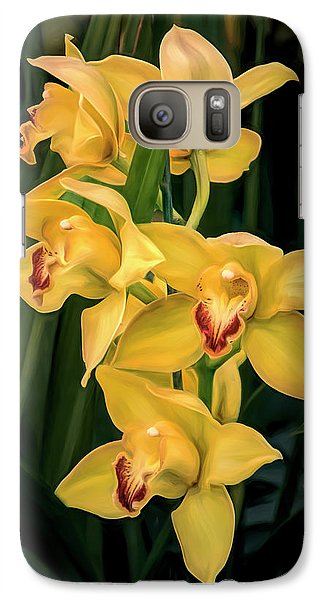Orchid Galaxy S7 Case - Bright Yellow Orchids by Tom Mc Nemar