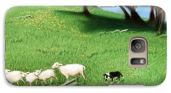 Galaxy Case featuring the pastel Bringing Them In  by Jan Amiss