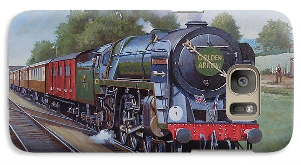 Galaxy Case featuring the painting Britannia Pacific On The Golden Arrow. by Mike  Jeffries