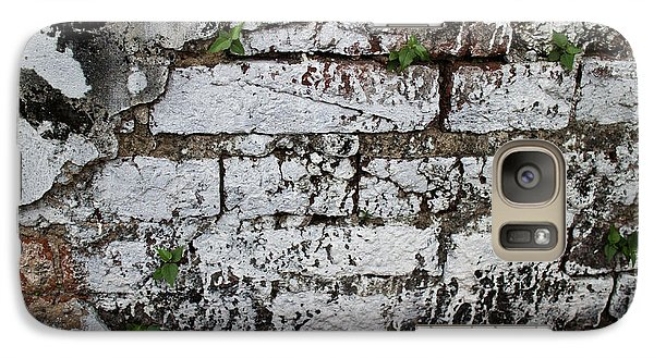 Galaxy Case featuring the photograph Broken Stucco Wall With Whitewashed Exposed Brick Texture And Ve by Jason Rosette