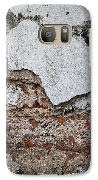 Galaxy Case featuring the photograph Broken White Stucco Wall With Weathered Brick Texture by Jason Rosette