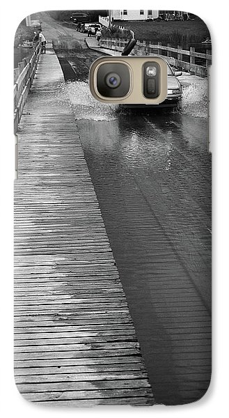 Galaxy Case featuring the photograph Brookfield, Vt - Floating Bridge Bw by Frank Romeo