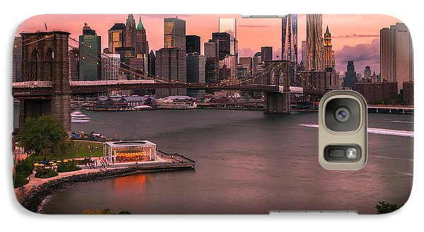 Galaxy Case featuring the photograph Brooklyn Bridge Over New York Skyline At Sunset by Ranjay Mitra