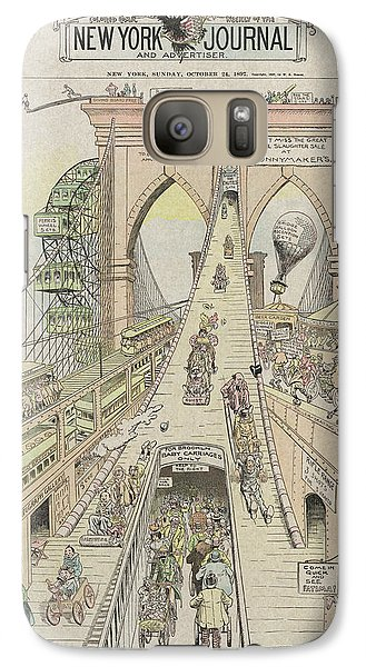 Galaxy Case featuring the photograph Brooklyn Bridge Trolley Right Of Way Controversy 1897 by Daniel Hagerman