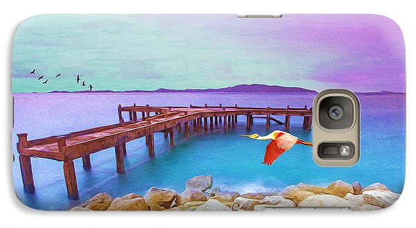 Spoonbill Galaxy S7 Case - Brown Dock by Laura D Young