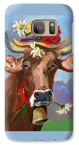 Galaxy Case featuring the painting Brown Swiss In Summer Hat by Susan Thomas